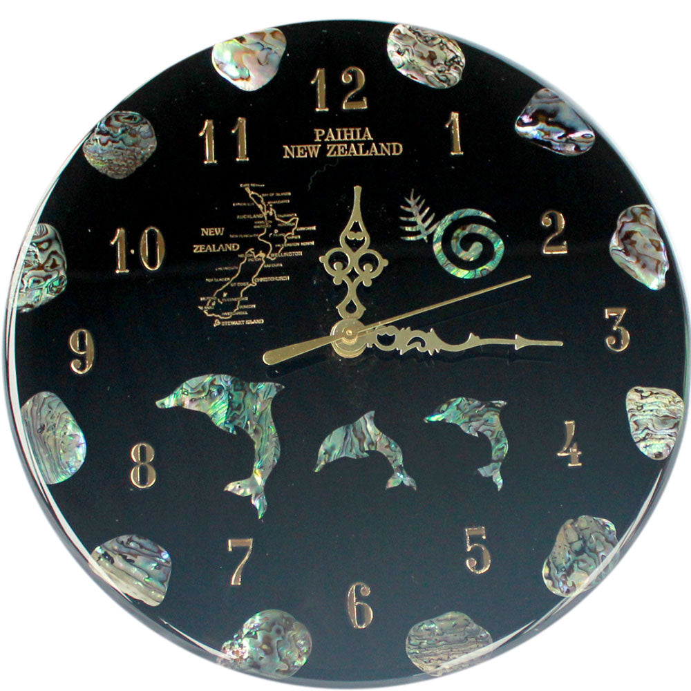 NZ Design Paua Clock Large                 all clocks can be made to your own design using our Maori symbols,fern,koru, matua, piriti, kiwis,marlin,dolphin,nz maps large or small just email to ask about your design