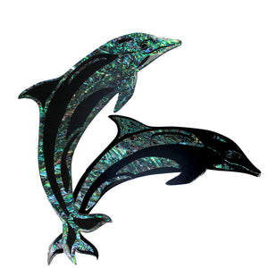 Dolphin  Pair Paua Small Wall Hanger