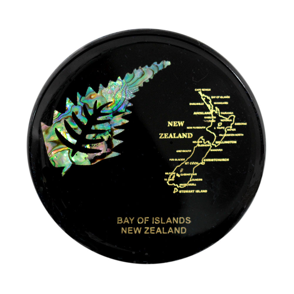 Paua Coaster Fern & NZ Map     Fern represents strength in times of stress,and uncertainty,