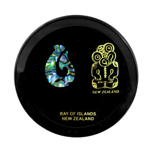 Paua Coaster Tiki & Hook    Tiki symbolizes clarity of thought,loyalty,inner knowledge,and strength of character, Hook represents strength,prosperity,and good luck,when travelling