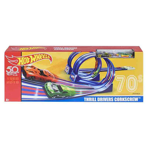 Image of Hot Wheels Throwback Thrill­ Corkscrew Trackset