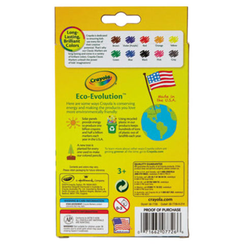 Crayola Assorted 10 Fine Point Non-Washable Markers