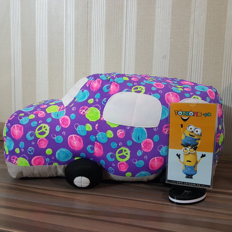 Stuffed Car - Soft Plush Baby Toy  (Multi colour )