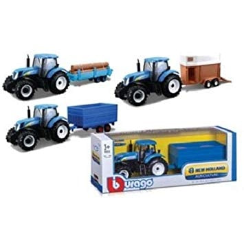 Image of Bburago 1:32 New Holland Tractor With Log Trailer Diecast Metal Model