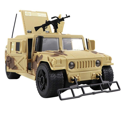 Friction Powered Hummer Jeep Fighter Army Truck with Lights and Sounds 1:16 Scale