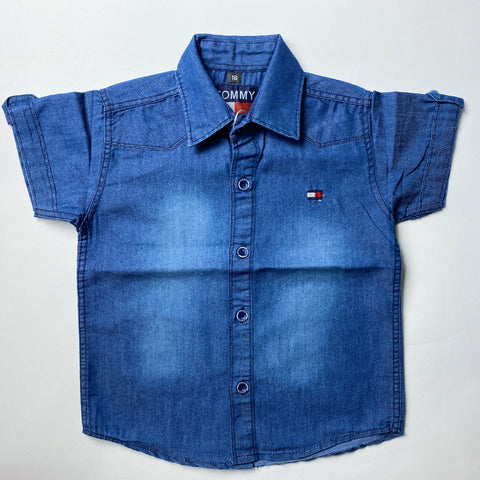 Image of Blue Denim Style Shirt For Kids