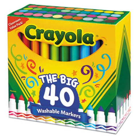 Image of Crayola Washable Markers Broad Point Assorted Classic Colors 40 per Set-587858
