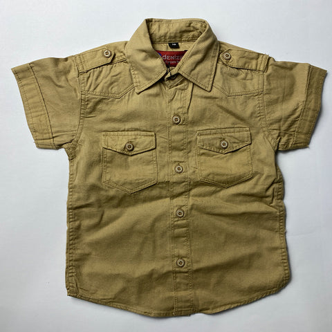 Brown Cotton Shirt For Kids