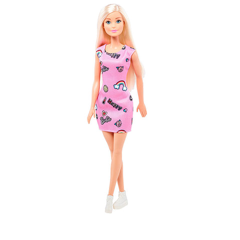 Mattel Barbie Chic Doll in Pink Dress with Prints