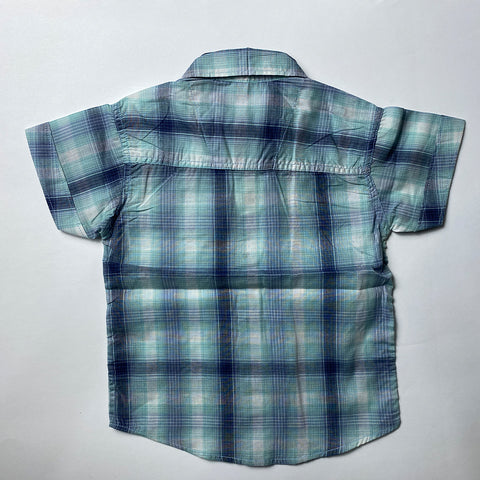 Blue Checked Cotton Shirt For Kids