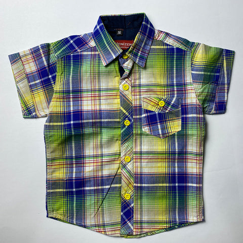 Blue and Yellow Checked Cotton Shirt For Kids