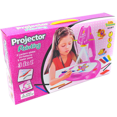 3 in 1 Drawing and Learning Projector Painting Toy for Kids with 7 Picture Discs