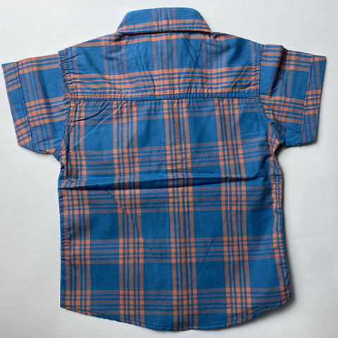 Sky Blue Checked Cotton Shirt For Kids
