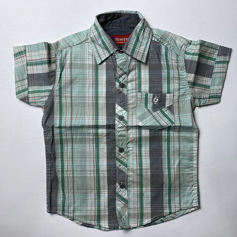 Grey Checked Cotton Shirt For Kids