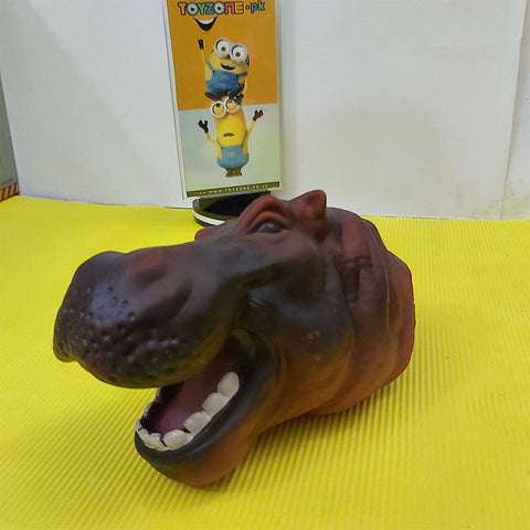 Image of Rubber Animal Hand Puppets-Hippopotamus