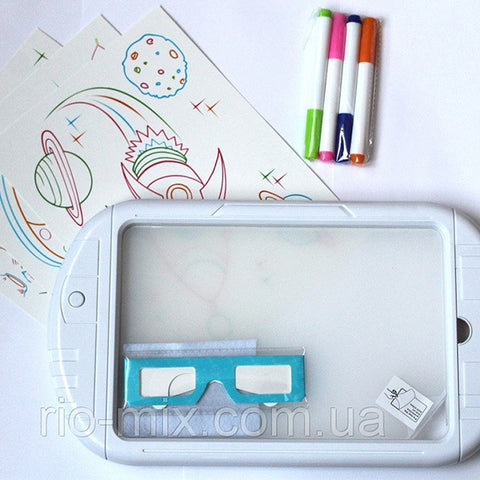 Image of Magic 3D Drawing Board With 3D Glasses (Shark)