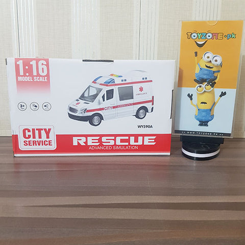 Image of Friction Powered Rescue Ambulance with Lights and Sounds 1:16 Scale