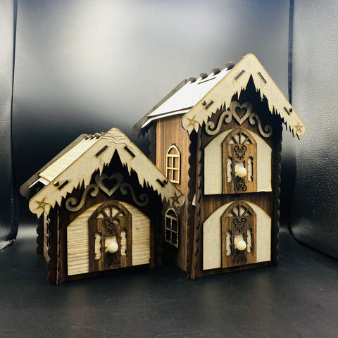 Wooden Piggy Bank and Jewelry Hut - TZP1