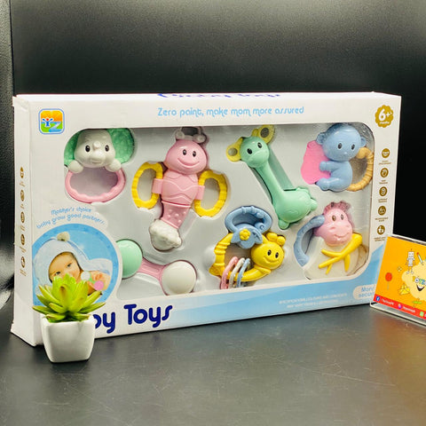 Image of Lovely Hand Shake Bell Ring Baby Rattles Toys (7 Pcs)