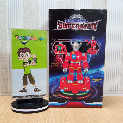 Light Up Superman Robot With Hoverboard