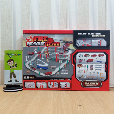 Assembled Fire Trucks Track Set
