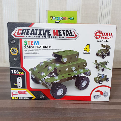 Image of Creative Metal - Military Car Blocks 166pcs
