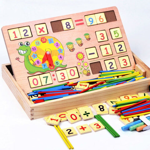 Image of Wooden Educational Multi-Functional Digital Computing Learning Box - STO