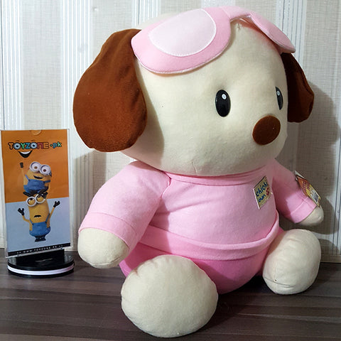 Image of Plush Soft Dog-Stuffed Toy ( Pink& White )