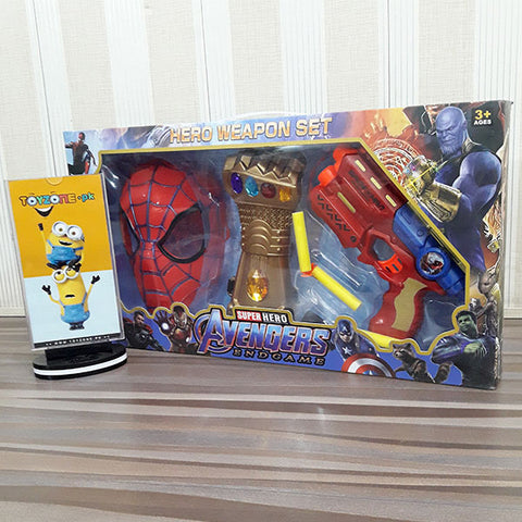 Image of Soft Bullet Gun & Thanos Glove With Spiderman Mask