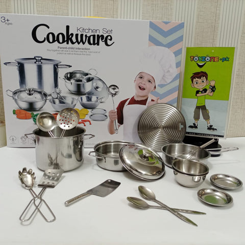Kitchen Cookware Stainless Steel For Kids (23 Pcs)