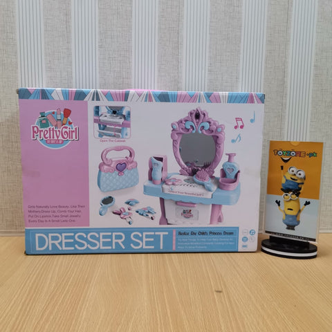 Image of Pretty Girl With Dresser Set