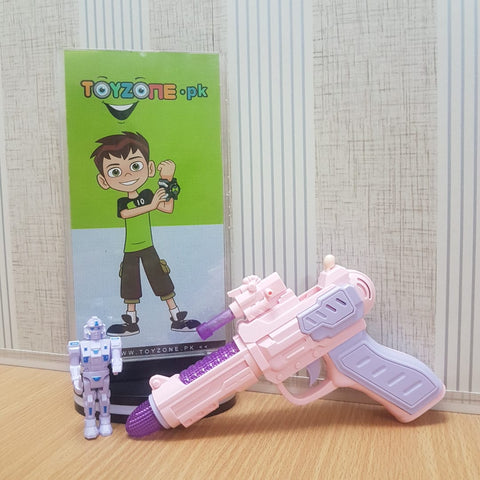 Child electric gun music police pistol with robot