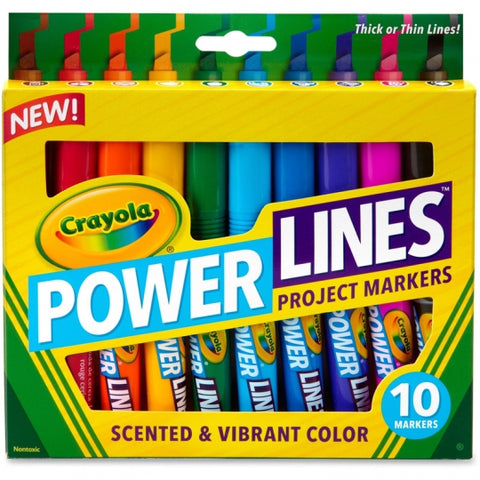 Image of Crayola Powerlines Assorted 10 Color Scented Marker Set-588194