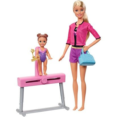 Barbie Gymnastics Coach Dolls & Playset--FXP39