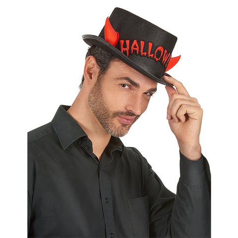 Halloween Top Hat with Horns
