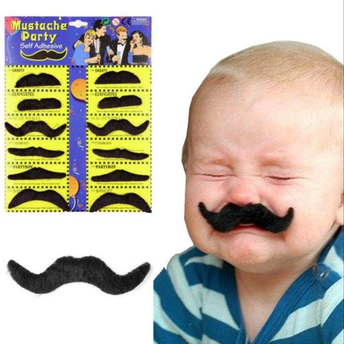 12 Self adhesive Assorted Fake Moustache Set