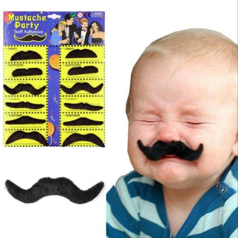 Image of 12 Self adhesive Assorted Fake Moustache Set