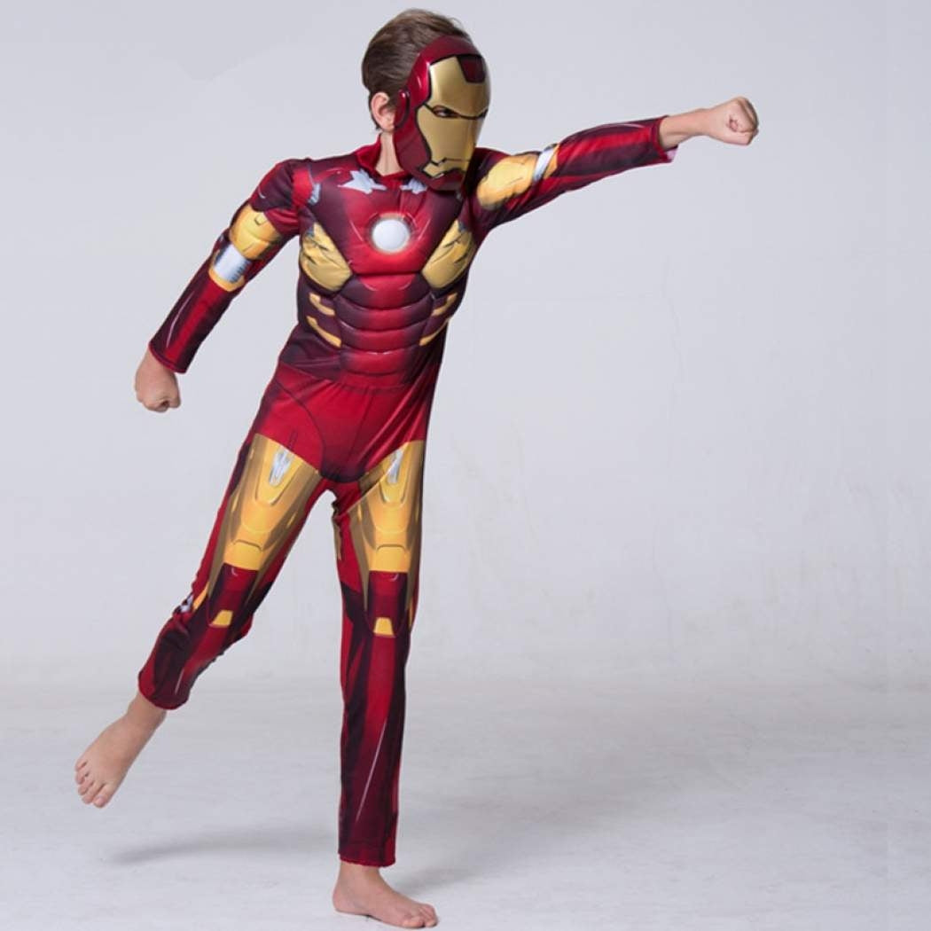 DELUXE IronMan 3 Mark 42 MUSCLED Child  Halloween Costume S 4-6 MED 7-8 iron man