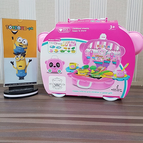 Pretend Play Cooking Set with Food Panda Suitcase