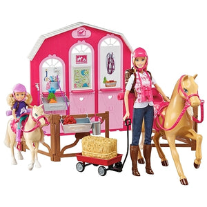 Barbie Pink Passport Ranch Set With 3 Dolls & Horses