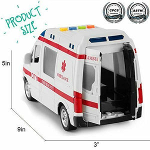 Friction Powered Rescue Ambulance with Lights and Sounds 1:16 Scale