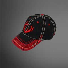 Black/red cap with rivet detailing and 3D Stitch Antlers