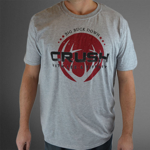 Crush Circle Antler Logo Athletic Gray tee with red and black imprint