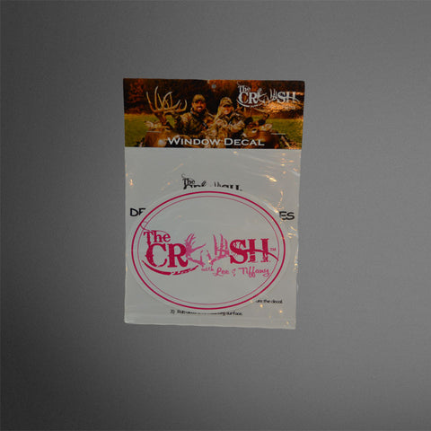 pink/white oval Crush decal