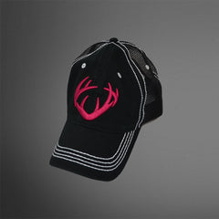 Women's Black with Mesh Back Cap with Lush 3D Stitch Antler