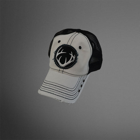White front cap with Black frayed circle antler patch and black mesh back