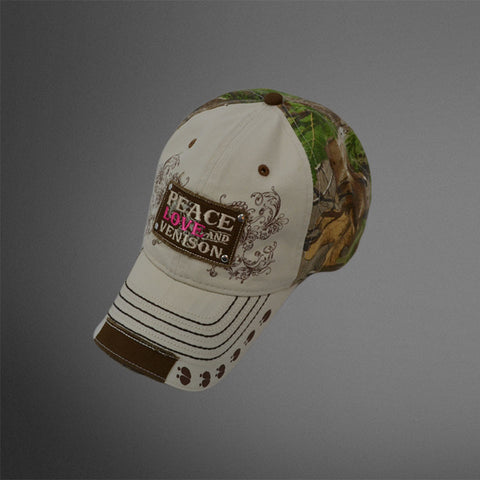 Women's Peace Love Venison khaki/camo cap with pink accents