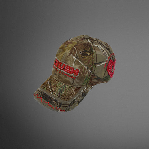 Realtree Camo cap with red CRUSH patch letters and mesh bill accent