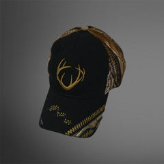 Black cap with Realtree camo mesh back and 3D stitch antlers