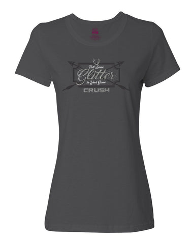 Women's Put Some Glitter in Your Game Charcoal Ladies Cut Tee